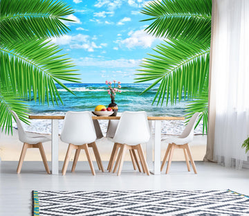3D Sea Beach Coconut Tree 025 Wall Murals