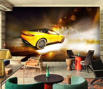 3D Yellow Car 938 Vehicle Wall Murals