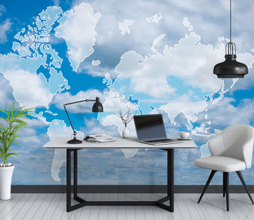 3D Cloud World Map 1098 Wall Murals