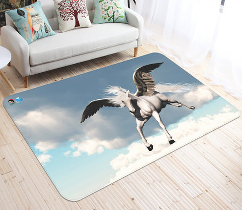 3D Flying White Clouds Unicorn 32 Non Slip Rug Mat Mat AJ Creativity Home