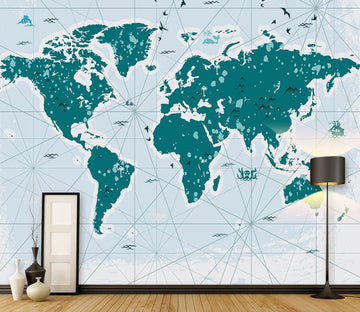 3D World Map 053 Wall Murals