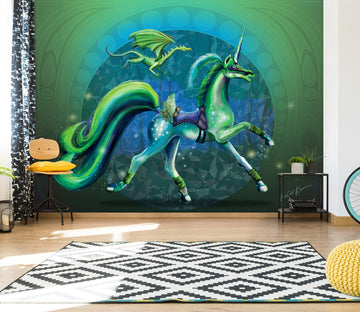 3D Green Unicorn 105 Rose Catherine Khan Wall Mural Wall Murals