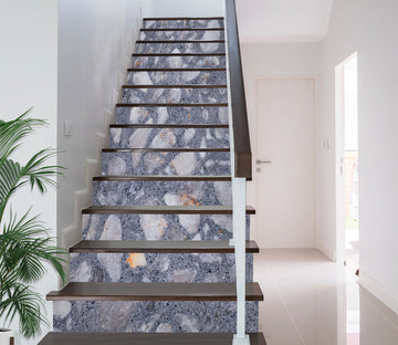 3D Grey Pebbles 639 Stair Risers