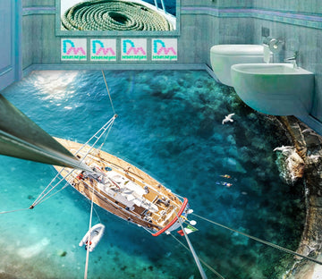 3D Sea Sailing Boat WG714 Floor Mural