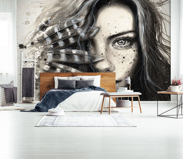 3D Hand Drawn Girl 1669 Wall Murals