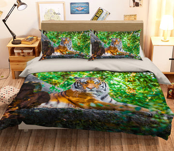 3D Tiger Forest 128 Bed Pillowcases Quilt