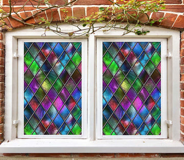 3D Colored Diamond 459 Window Film Print Sticker Cling Stained Glass UV Block