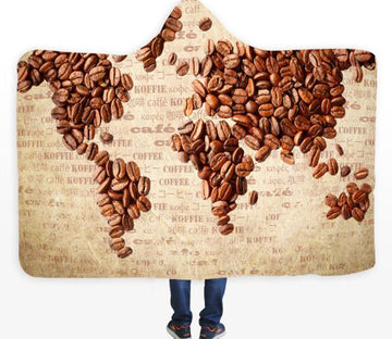 3D Coffee Bean World Map 337 Hooded Blanket