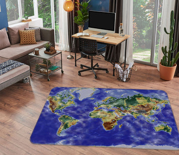 3D Coastal Island 302 World Map Non Slip Rug Mat