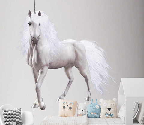 3D White Horse Unicorn 080 Animals Wall Stickers