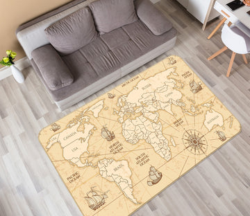 3D Nautical Route 318 World Map Non Slip Rug Mat