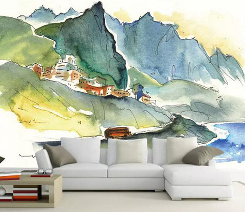 3D Graffiti Mountain WG74 Wall Murals