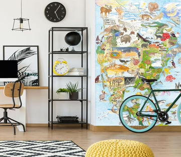 3D Animal Map 1417 Michael Sewell Wall Mural Wall Murals