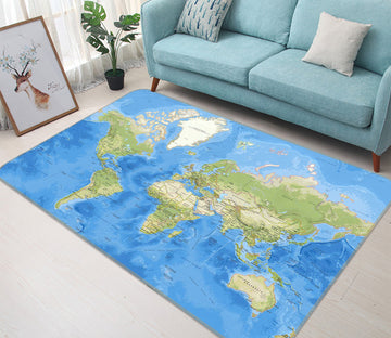3D Blue Ocean 303 World Map Non Slip Rug Mat