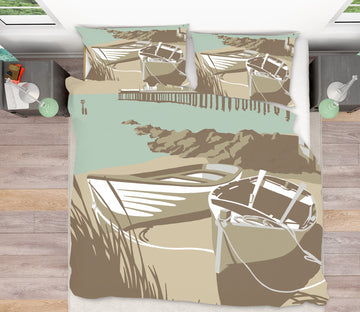 3D Southwold Boats Pier 2058 Steve Read Bedding Bed Pillowcases Quilt