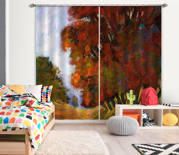 3D Red Maple Forest 212 Michael Tienhaara Curtain Curtains Drapes