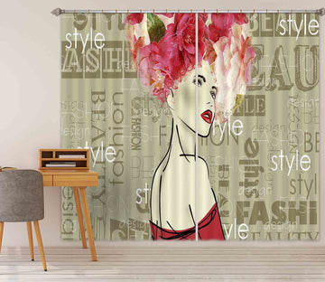 3D Aristocratic Girl 783 Curtains Drapes