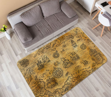 3D Vintage Paper 289 World Map Non Slip Rug Mat