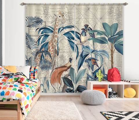 3D Palm Tree Map 086 Andrea haase Curtain Curtains Drapes