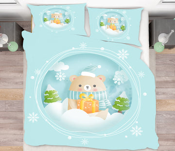 3D Bear Snowflake 64003 Bed Pillowcases Quilt