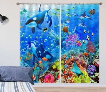3D Cute Fish 051 Adrian Chesterman Curtain Curtains Drapes