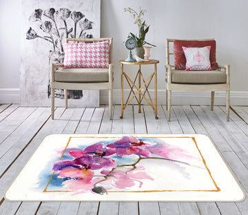 3D Colored Flowers 1007 Anne Farrall Doyle Rug Non Slip Rug Mat