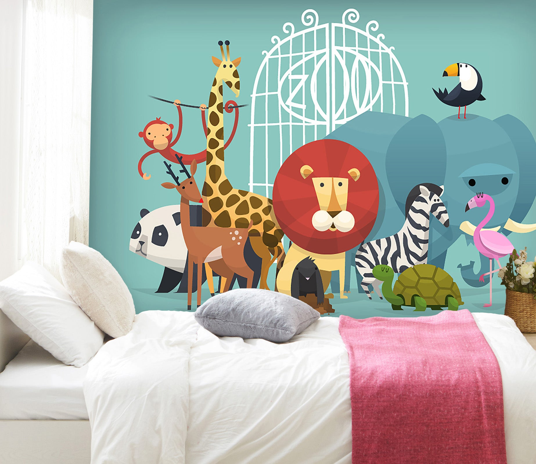 3D Giraffe Lion Monkey 038 Wall Murals