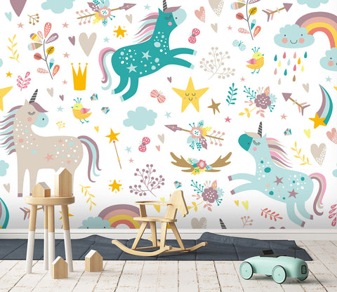 3D Rainbow Unicorn 043 Wall Murals