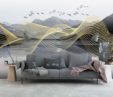 3D Golden Wave 1434 Wall Murals
