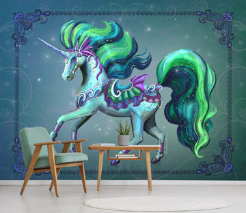 3D Green Unicorn 1415 Rose Catherine Khan Wall Mural Wall Murals