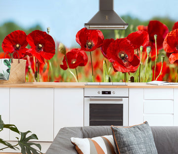 3D Red Flowers 1425 Wall Murals