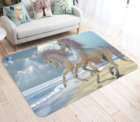 3D Flower Unicorn 35 Non Slip Rug Mat Mat AJ Creativity Home