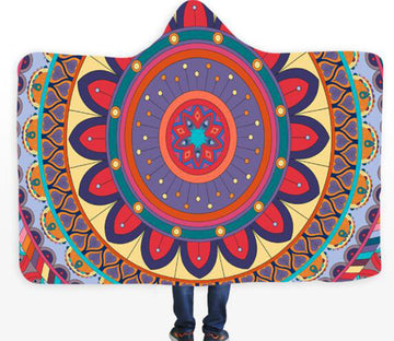 3D Color Flower Circle 085 Hooded Blanket