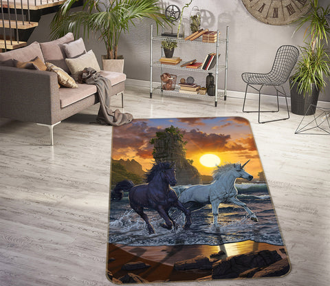 3D Unicorns In Sunset 1082 Vincent Hie Rug Non Slip Rug Mat