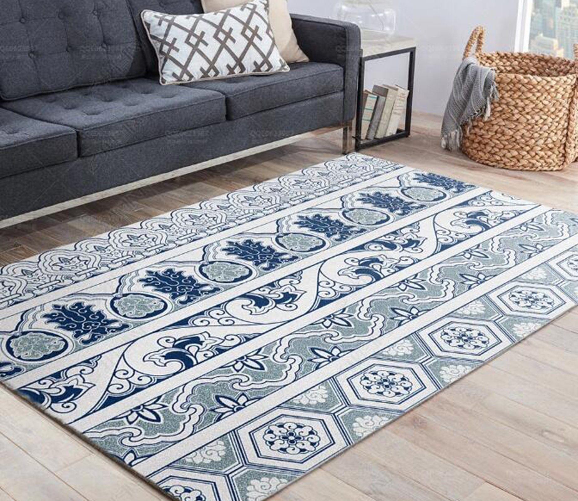 3D Color Geometry WG575 Non Slip Rug Mat