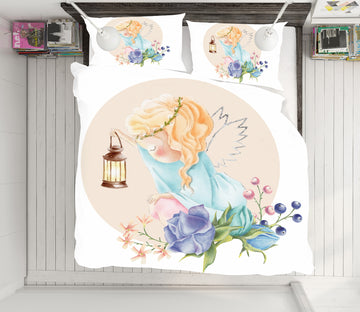 3D Flowers Angel Girl 64007 Bed Pillowcases Quilt