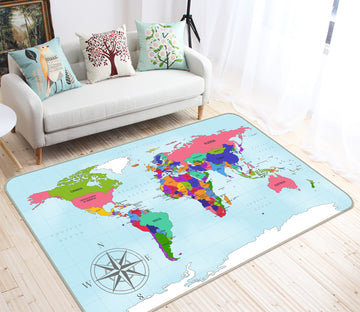 3D Colourful World 327 World Map Non Slip Rug Mat