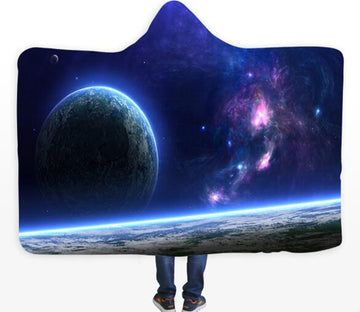 3D Earth Universe 430 Hooded Blanket