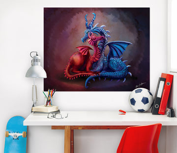 3D Cute Dragon 106 Rose Catherine Khan Wall Sticker
