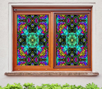3D Green Art Pattern 190 Window Film Print Sticker Cling Stained Glass UV Block