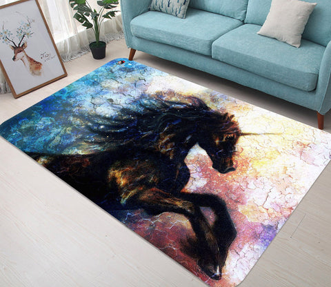 3D Jumping Black Unicorn 06 Non Slip Rug Mat Mat AJ Creativity Home