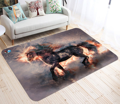 3D Spark Black Unicorn 16 Non Slip Rug Mat Mat AJ Creativity Home