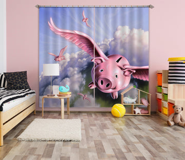 3D Flying Pig 072 Jerry LoFaro Curtain Curtains Drapes