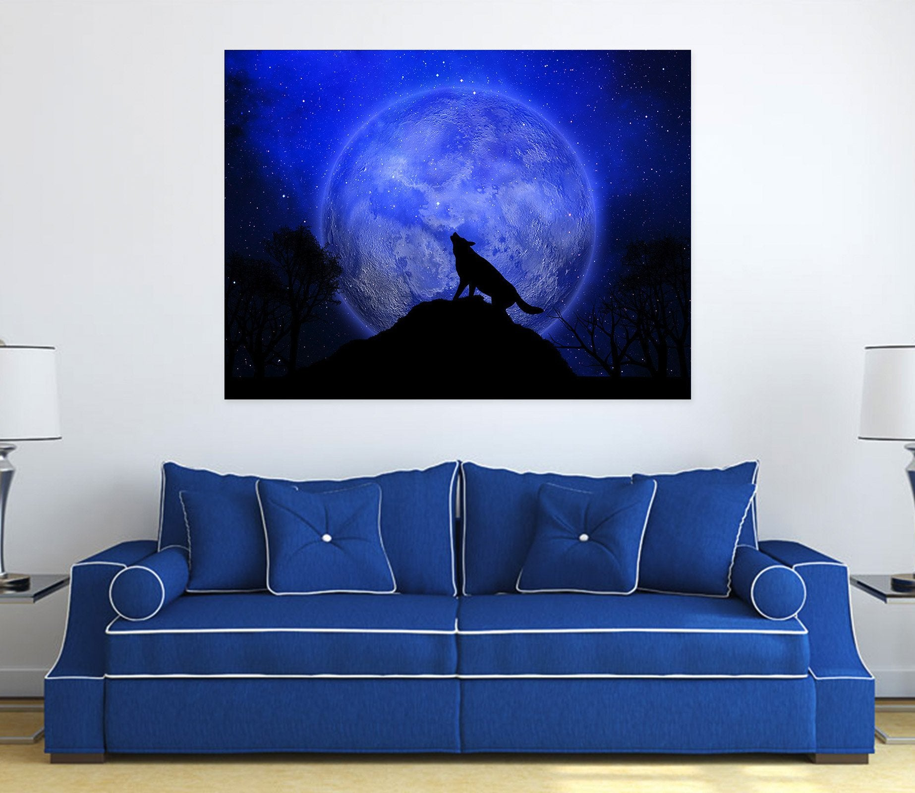 3D Moon Wolf 05 Animal Wall Stickers