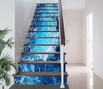 3D Tranquil Blue Lake 638 Stair Risers