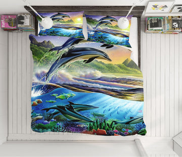 3D Atlantic Dolphins 2018 Adrian Chesterman Bedding Bed Pillowcases Quilt Quiet Covers AJ Creativity Home