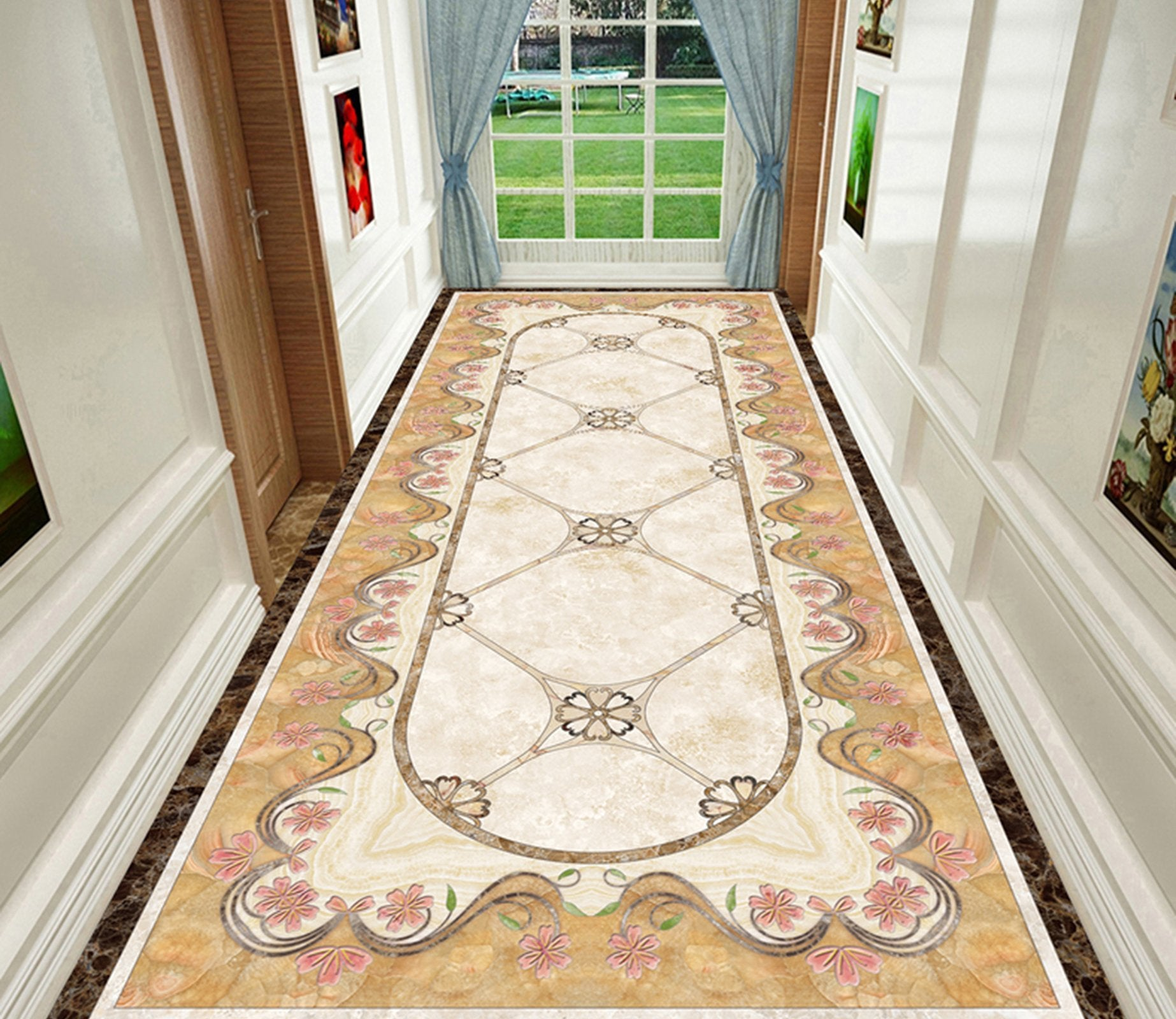 3D Marble Rectangular Lace WG610 Floor Mural