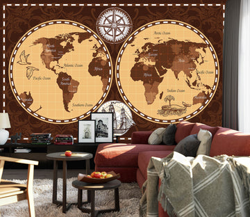 3D Abstract Dolphin 2068 World Map Wall Murals