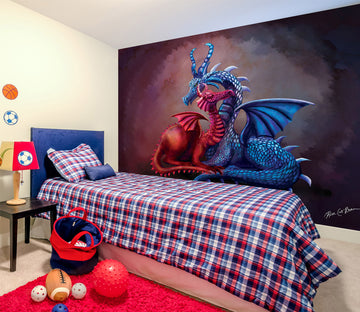 3D Two Dragons 1406 Rose Catherine Khan Wall Mural Wall Murals