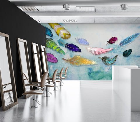 3D Color Feather Falling 51 Wall Murals